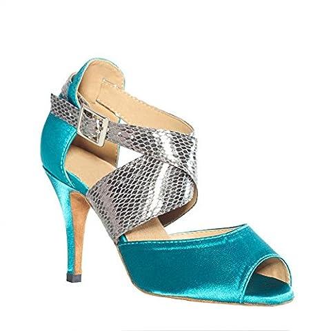 latin dance sandalen frau schuhe satin leder salsa samba tango ballsaal offener zeh weichsohlen schnalle blau high heels . b . 40