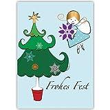 4er Set Nette Weihnachtskarten mit Vögelchen und Schnee, lila, mit ihrem Innentext (Var1) drucken lassen, als geschäftliche Weihnachtsgrüße, Firmen Neujahrskarte für Kunden, Geschäftspartner, Mitarbeiter: Merry Christmas