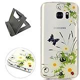 Keyye Samsung Galaxy S7 Edge Hülle, Transparent Weiche Silikon Schutzhüll Kratzfest Gummi Weich Kristal TPU Schutzhülle Skin Shell mit bunten Muster Design-schmetterling daisy