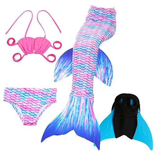 Das beste Mädchen Cosplay Kostüm Badebekleidung Süße Meerjungfrau Shell Badeanzug Meerjungfrauenschwanz Zum Schwimmen mit Verbesserten Flosse 4pcs Bikini Sets - Tolle Geschenksidee