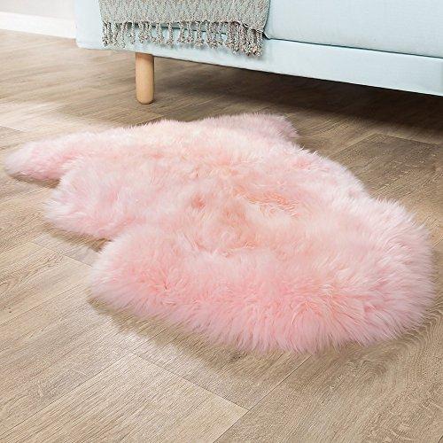 Australisches Lammfell Naturfell Bettvorleger Echtes Schaffell In Pastell Rosa, Grösse:100x68 cm