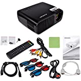 Kuman H2 HD1080P Portable HD Projector 2600 Lumens 800*480 Resolution with HDMI Cable 2 HDMI 2 USB VGA TV/DTV YPBPR Input for Home Theater Cinema