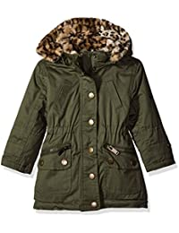 Urban Republic Girls' Cotton Twill Anorak Jacket with Faux Fur Hood
