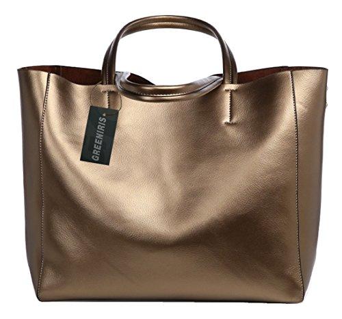 Greeniris Genuine Leather Handbags Women Shoulderbag Totes Braun (Tote Schulter Der Aus)