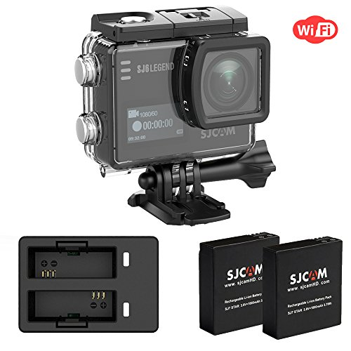 SJCAM SJ6 Legend WIFI 4K 16MP Action Kamera mit 2.0 HD Touchscreen 0.9 Front LCD Screen 170 ° Weitwinkel Gyro Stabilisierung Externes Mikrofon Fernbedienung Wasserdichte Unterwasser Digital Action Kam