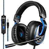 SADES R4 Gaming-Headset Xbox One, PS4-Controller, 3,5 mm verdrahtet Over-Ear Noise Cancelling Mikrofon Lautstärkeregler für Mac / PC / Laptop / PS4 / Xbox One (schwarz)