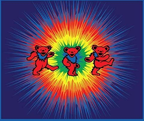 Grateful Dead - Dancing Bears Tie Dye Fleece Blanket by Grateful Dead