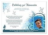 Einladungskarten für Kommunion Kind Jungen, mit Foto (auch ohne) lustig und originell - Text ändern - Menge 10, Maße 17 x 12 cm groß