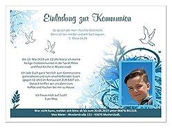 Kommunionseinladungskarten für Jungs mit Spruch, schön modern, mit Foto und Wunschtext - 30 Karten, Maße 17 x 12 cm
