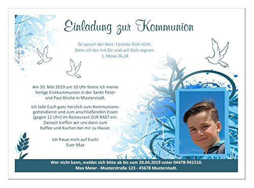 Einladungen zur Kommunion, für Junge, mit oder ohne Foto, süße moderne Karten, Text änderbar - Menge 20, Format 17 x 12 cm