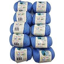 Baby Wool Bamboo 10 ovillos de Lana de 50 g para Tejer bebé Alize con 20