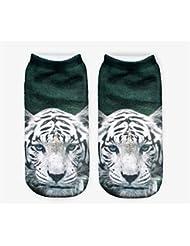 Femenina Modelos 3d Impresión Calcetines Calcetines para niños (blanca Tiger Patrón, Negro)