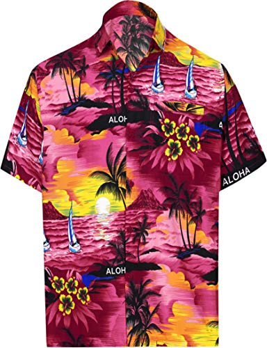LA LEELA männer Hawaiihemd Kurzarm Button Down Kragen Fronttasche Beach Strand Hemd Manner Urlaub Casual Herren Aloha Rosa_291 M Likre 538