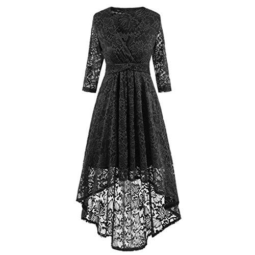 Elegante Damen 3/4 Arm V-Ausschnitt Spitzen Brautkleid Festliches Cocktailkleid Langes Abendkleid...