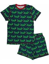 MAXOMORRA Jungen Pyjama Kurzarm Blau Krokodil 2-teilig SS BioBaumwolle Gots