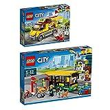 Lego CITY 2er Set 60150 60154 Pizzawagen + Busbahnhof