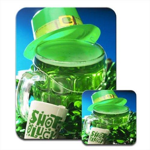 Dampfstoß Glück grünen Hut Biertisch für St, Patricks Tag Mauspad & Untersetzer