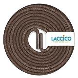 LACCICO Finest Waxed Laces - Durchmesser 2,5 mm, robuste gewachste premium Schnürsenkel; Farbe:Nussbraun, Länge:90 cm