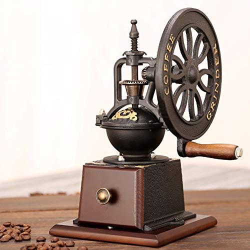 Vintage Manual Coffee Grinder, Schleifeinstellungen und Catch Drawer, Vintage Style Wooden und Cast Iron Coffee Grinder Roller Grain Hand Crank, Labor-sparen Vintage Coffee Grinder
