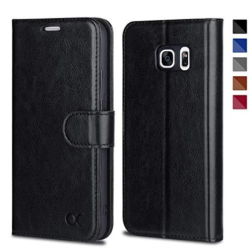 OCASE Galaxy S7 Hülle Handyhülle [Premium Leder] [Standfunktion] [Kartenfach] [Magnetverschluss] Schlanke Leder Brieftasche Hülle für Samsung Galaxy S7 Geräte Schwarz
