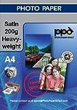 PPD DIN A4 Inkjet Fotopapier für Tintenstrahldrucker seidenglänzend satin seidenmatt schnelltrocknend wasserfest 200g, DIN A4 x 50 Blatt PPD-68-DE