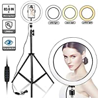 ‏‪Selfie Ring Light with Tripod Stand, Womdee LED 3 Light Modes Ringlight with Cell Phone Holder, 10 inch Inner USB Selfie Ring Light for YouTube Video and Live Makeup/Photography (160CM)‬‏