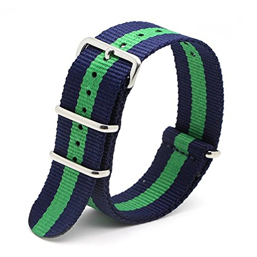 Grün Oliv 18mm NATO Stil wasserdicht Ballistic Nylon Uhrenarmband Armbanduhr BANDS Armband (Marineblau Blau + Grün)