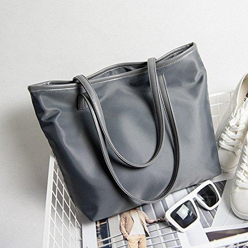 GUMO-Borsa da spiaggia, nylon, tela sacchetti, panno di Oxford, impermeabili e tempo libero borsa, borsetta,nero gray