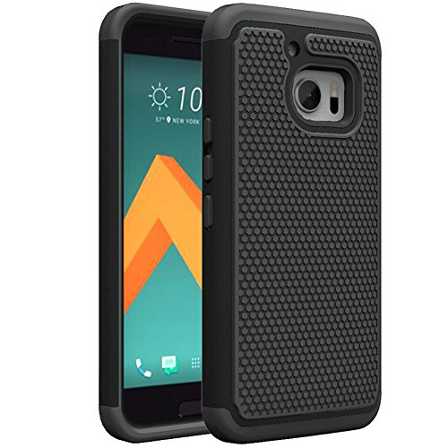 HTC 10 Custodia, Firefish Dura Resistente Copertina Robusto, [Assorbimento-Urto] Hybrid Silicone e Dura del PC Shell [Thin-Costruire] Della Pelle per HTC 10 -Nero