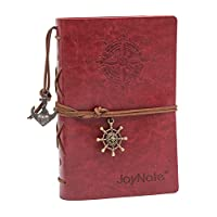 "JoyNote Leather Journal Notebook,Classic 7-inch Vintage Refillabe Spiral Daily Notepad,Embossed Travelers Journals,Unlined Pages with Retro pendant,80 Sheets/160 Pages,5.12"" x 7.28"",Red"