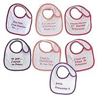Lot de 7 bavoirs naissance fille, avec motifs coeurs, 18*21cm, 80% coton/20% polyester