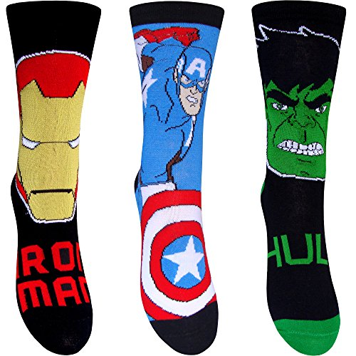Schuhe Superheld (Boy 's Marvel Avengers Superhelden Charakter Socken (3Paar) Gr. 23-26 EU Junior schuh, mehrfarbig)