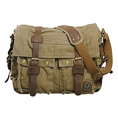 TOOGOO(R) Men's Vintage Canvas Leather School Military Shoulder Bag Messenger Sling Crossbody Bag Satchel-army green