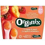 Organix Pomme & Pêche Pomme Et Fraise 4 + Mois Stade 1 4 X 100G
