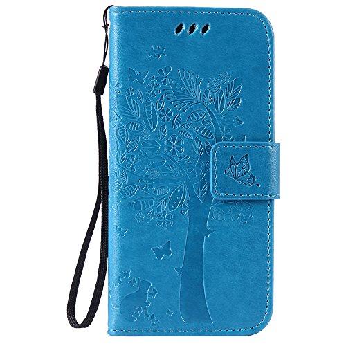 Preisvergleich Produktbild Nancen Motorola Moto G4/G4Plus (5.5Zoll) Schutzhülle, gute Qualität PU Leder Brieftasche und Card Slot Schutzhülle aus Flip Cover/kratzfest Smart Case. Zehn Solide Farben [Katze und Baum Stilvolles Design]