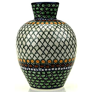 Ceramika Artystyczna Polish Hand Painted Medium Vase (Green Patterned)