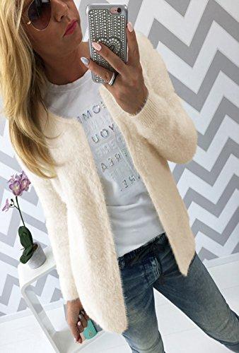 Giacche a Donna Autunno Sweater Maglieria Cappotti Manica Lunga Di Colore Solido Cardigan Maglione Felpa Color crema