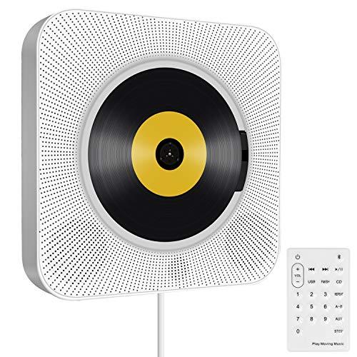 Tragbarer CD Player, wandmontierbar Bluetooth eingebaute HiFi-Lautsprecher für Kinder, die Heim-Audio-Boombox mit Fernbedienung, FM-Radio, USB mp3 Kopfhöreranschluss, Power an oder aus mit Zugschalter - Cd-player Fernbedienung