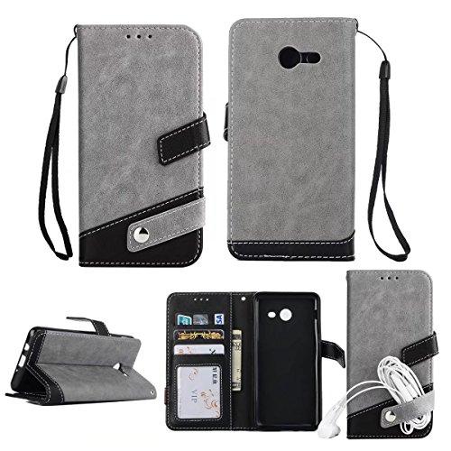 Bookstyle Horizontale Flip Stand Case Litchi Texture Dual Farbe genäht PU Leder Tasche mit Lanyard & Niet Button für Samsung Galaxy J5 2017 ( Color : Red ) Gray