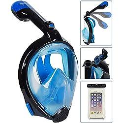 Bestlus Masque de plongée Masque de Snorkeling Intégral pour Vision Panoramique à 180 ° 0pour Adultes avec Design Anti-buée et Anti-buée (Noir, Bleu, L/XL)