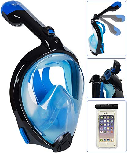 Bestlus Full Face Snorkel Mask Versión Plegable 3.0 Vista panorámica de 180 ° para Adultos con diseño antivaho antivaho (Black_Blue, L/XL)