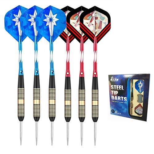 cdsnxore Steeldarts Dartpfeile mit Metallspitze,6 Stück Steel Darts Pfeile Set,23 Gramm Profi Steeldarts mit Metallspitze,Darts Steel,DAR