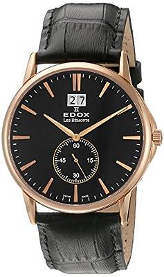EDOX EDOX LES BÈMONTS Unisex Watch BIG DATE Dial Analogue Display and Gold Leather 64012 37R Niro