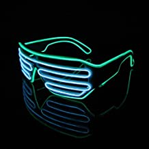 Lerway Bianco Telaio 2 Colori Novità LED Maschera Occhi Occhiali + Voice Control Box per Festa Natale Capodanno Notte Attività (bianco+verde)