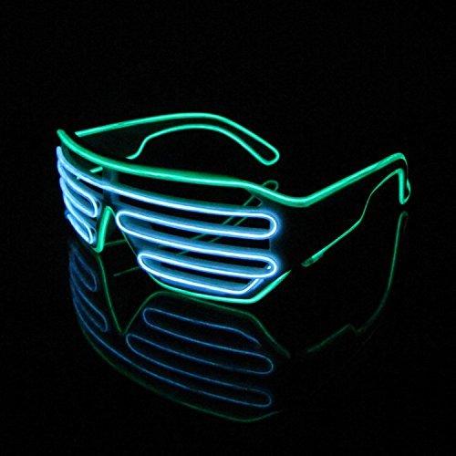 LERWAY 2 Bicolor EL Wire Leuchtbrille Leuchten LED Shutter Shade Brille Fun Konzert für Masquerade Party, Nacht Pub,Bar Klub Rave,70er 80er 90er Kostüm (Weiß+Hellgrün ()