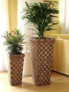 Casa Mina Wasserhyazinthe Blumenkübel Übertöpfe Pflanzkübel Sabah 2er Set braun 70/57cm