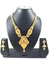Luxaim Stylish Latest Beautiful Flower Design Traingle Drop Pendant Gold-Plated Traditional Necklace Set With...