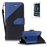 For Huawei Y5 II/Huawei Y5 2 Case [with Free Screen Protector},Funyye Stylish Premium Flip Magnetic Detachable PU Leather Wallet with Credit Card Holder Slots Smart Standing Folio Book Style Ultra Thin Different Color Splicing Protective Case Cover Skin for Huawei Y5 II/Huawei Y5 2 -Royal blue