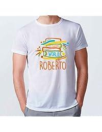 Lolapix - Camiseta Hombre Mejor Profesor. Personalizada con el Nombre del Profesor, Original y