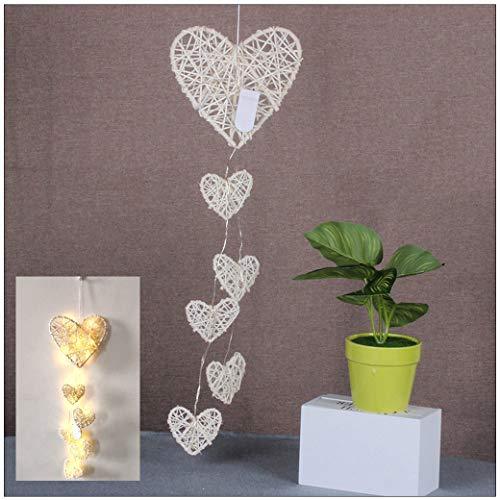 VNEIRW Liebe Rattan Weben Traumfänger mit Lichterkette, Ins Stil Handwerk Anhänger Kreatives Dreamcatcher Geschenk Mädchen Zimmer Dekoration (A)